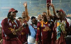 West Indies team celebrate win in the T20 Finals