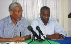 Roseau Central Parliamentary Representative Norris Prevost and party leader Lennox Linton at the press conference