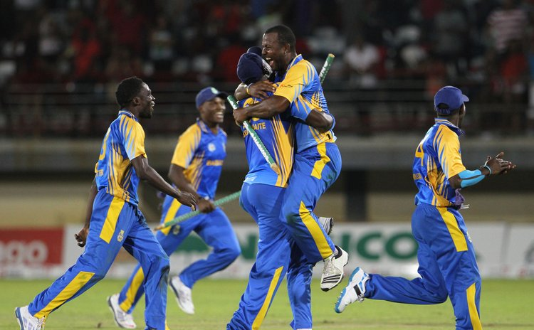 Barbados team celebrate beating Trinidad & Tobago in Nagico Super 50 Finals