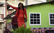 Candidate Denise Charles makes an entrance