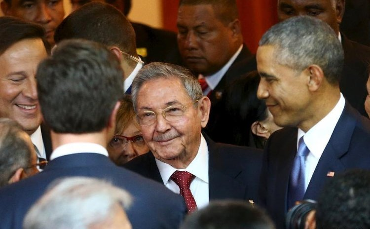 FILE PHOTO: Raul Castro and Obama at the Summit of the Americas