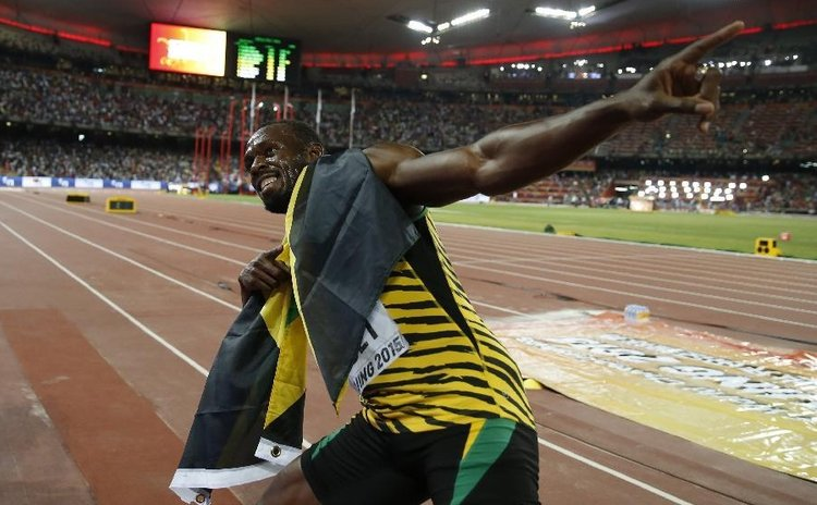 Bolt in winning pose