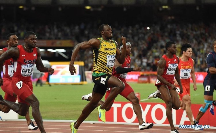 Bolt powers forward in the men's 100 metres race