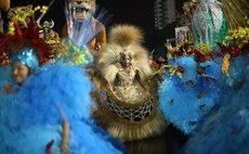 "SAO PAULO, Feb. 6, 2016 (Xinhua) -- Revelers of ""Perola Negra"" perform in the samba schools parade, during the Carnival opening at Anhembi Sambadrome, in Sao Paulo, Brazil, on Feb. 5, 2016."