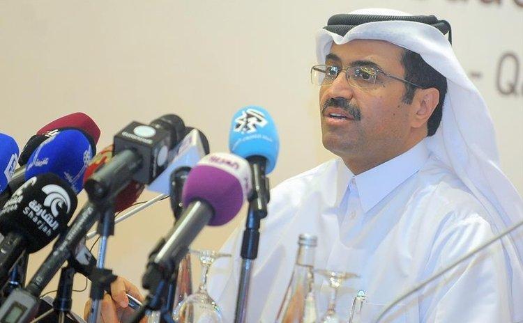 DOHA, April 17, 2016 (Xinhua) -- Qatari Oil Minister Mohammed bin Saleh al-Sada attends a press conference in Doha, capital of Qatar, April 17, 2016.