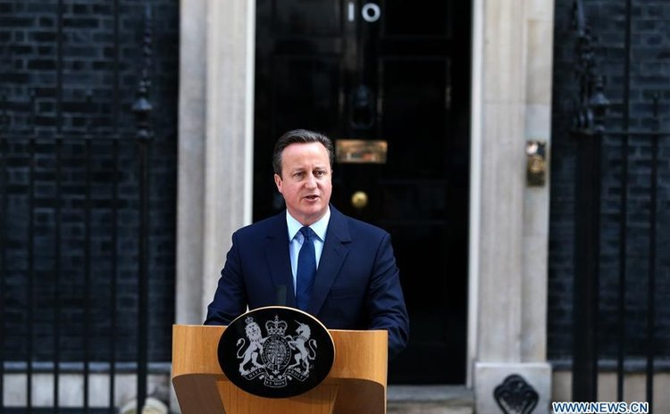 LONDON, June 24, 2016 (Xinhua) -- British Prime Minister David Cameron delivers a speech at 10 Downing Street in London, June 24, 2016.