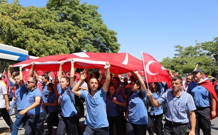 People protest against the coup outside the parliament building in Ankara, Turkey, July 16, 2016.