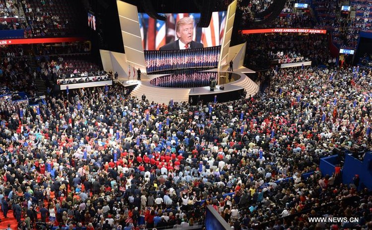 Donald Trump takes the stage on the last day of the Republican National Convention in Cleveland, Ohio, the United States, July 21, 2016.