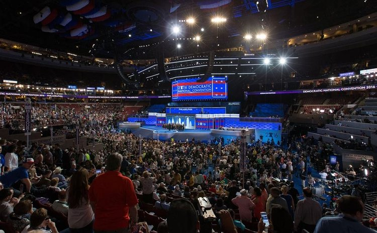 Photo taken on July 25, 2016, shows the U.S. Democratic National Convention in Philadelphia, the United States. U.S.