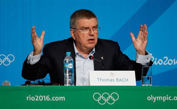 International Olympic Committee (IOC) President Thomas Bach addresses a press conference at the Main Press Center (MPC) of Rio Olympic Games in Rio de Janeiro, Brazil, on July 31, 2016.