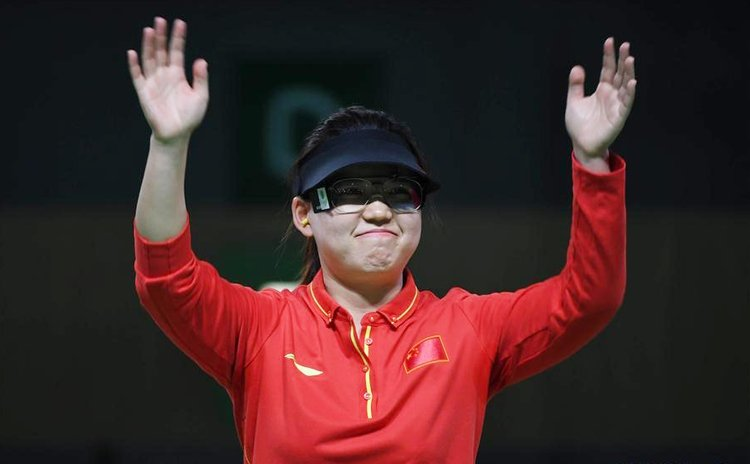 Zhang Mengxue of China celebrates after the Women's 10m Air Pistol final of the 2016 Rio Olympic Games at the Olympic Shooting Centre in Rio de Janeiro, Brazil, on Aug. 7, 2016.