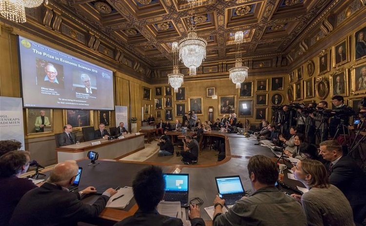 Photo taken on Oct. 10, 2016 shows the scene of the press conference held by the Royal Swedish Academy of Sciences to announce the winners of the 2016 Nobel Prize in Economics in Stockholm, Sweden