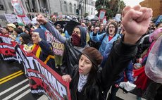 People hold a protest against the inauguration of Donald Trump as the new U.S. president, in Los Angeles Jan. 20, 2017