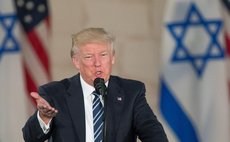 U.S. President Donald Trump delivers a speech at the Israel Museum in Jerusalem on May 23, 2017