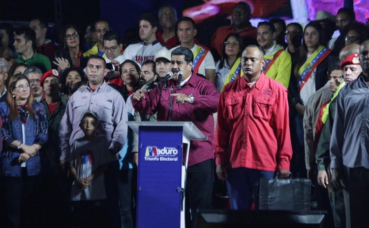 Venezuelan President Nicolas Maduro delivers a speech during a press conference after casting his vote in a polling center in Caracas, Venezuela, on May 20, 2018