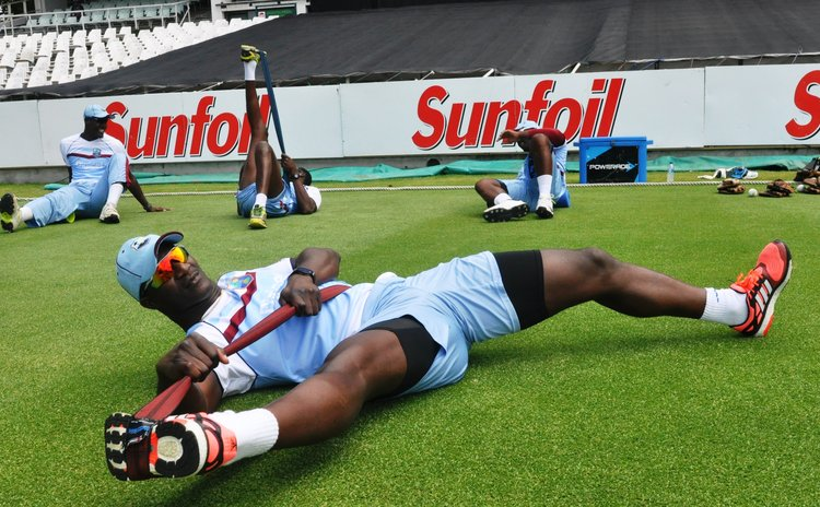 Sammy, West Indies T20 captain, trains before the game