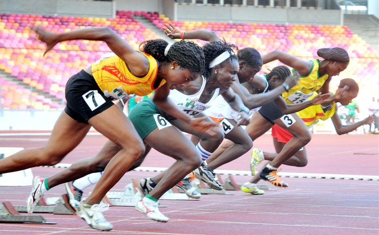 Athletes competes during the women's 100m final of the 1st U-23 Economic Community of West African States (ECOWAS) Games held in Abuja, capital of Nigeria, Sept. 8, 2010.  (Xinhua/News Agency of Niger