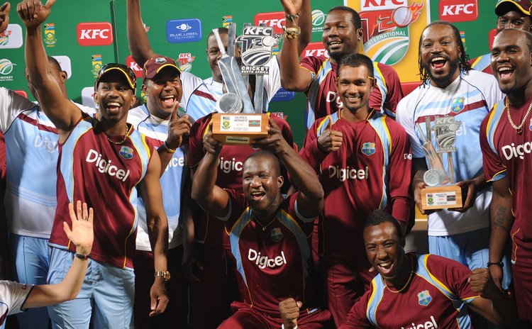 West Indies team celebrate series win