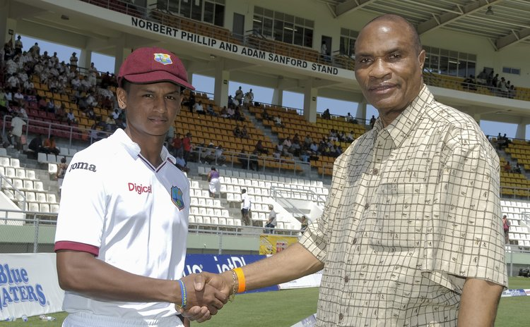 Shane Dowrich receives first cap from Norbert Phillip