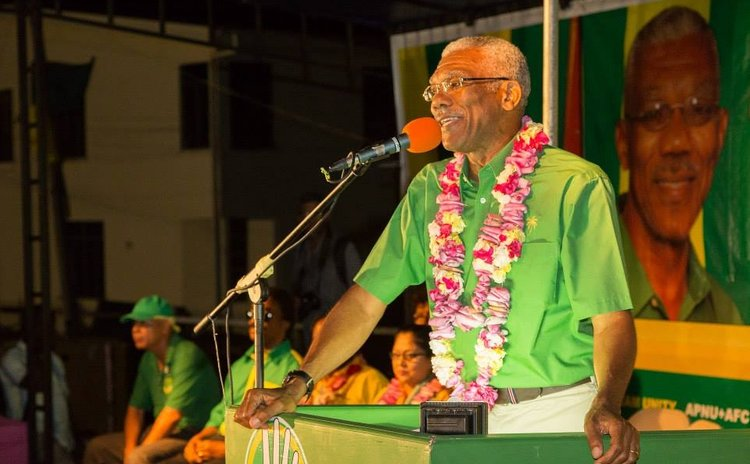 David Granger campaigns. APNU Facebook photo