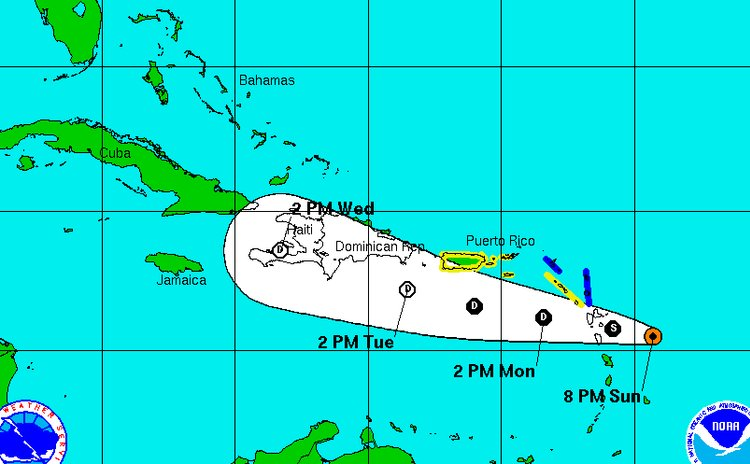 Track of Tropical Storm Danny