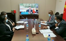 Dominica government officials at teleconference Monday (Photo supplied by Chinese embassy)