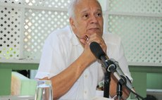 Businessman and journalist Parry Bellot speak at a press conference