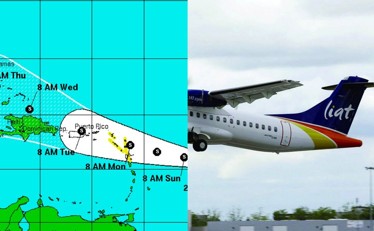 LIAT aircraft and path of Hurricane Danny