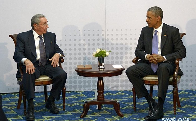 Presidents Obama, right, and Castro meet in Panama