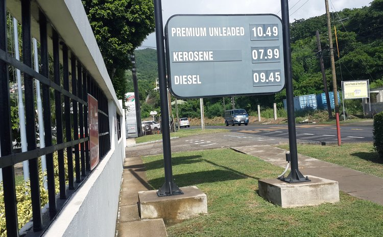 Recent posting of prices of petroleum products at the NP gas station at Canefield