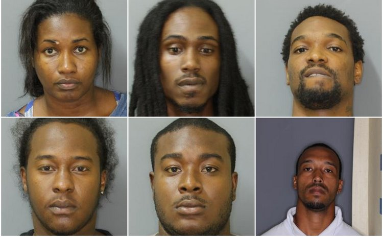 Charged with Robbery: (top row, left to right)-Cynthia Dorsette, Michael Magloire, Jason Dubique; (Bottom row, left to right)-Akim Anton Francis, Elrado Ducreay, Craig Christian