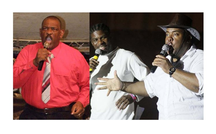Right, Val Cuffy (R) co-emceeing show with Alex Bruno a few years ago and Steve Williams in 2012 Cadence Competition; retired basketballer