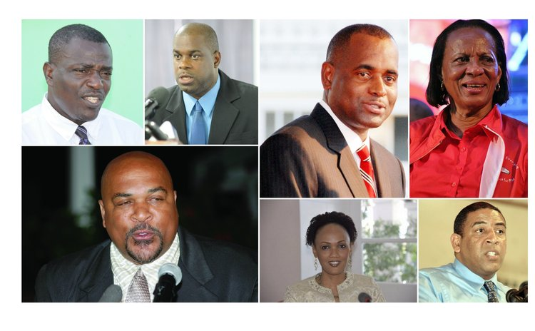 Ministers with new portfolios: Clockwise from top left- Drigo, Isaac, Skerrit, Daniel, McIntyre, Blanchard and Austrie