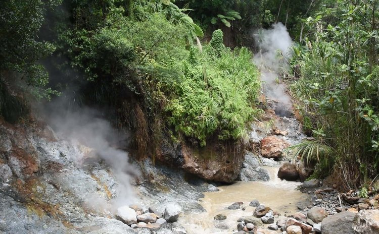 Evidence of volcanic activity is commonly seen in Dominica
