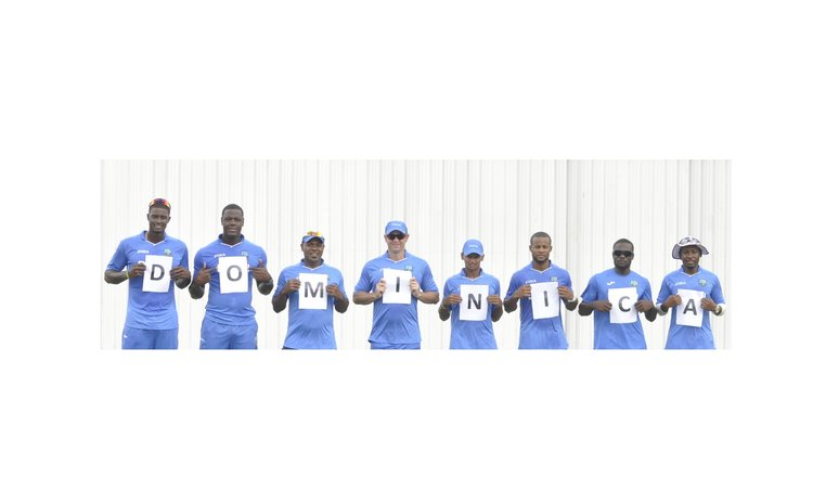 "West Indies cricketers spell ""Dominica"" ahead of benefit match"