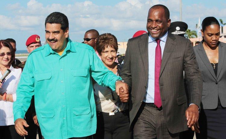 Venezuelan president Maduro,left, and Prime Minister Skerrit