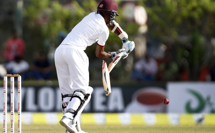 Kraigg Brathwaite's bat breaks in West Indies innings