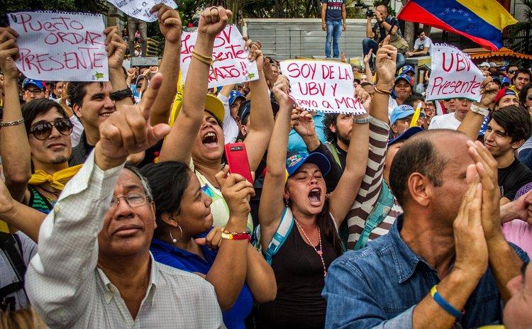 Protestors in Caracas Venezuela