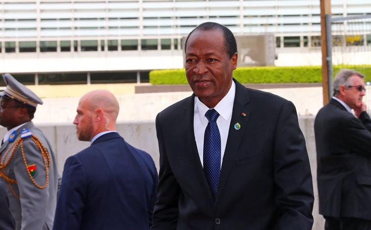 BRUSSELS, April 2, 2014 (Xinhua) -- President of Burkina Faso Blaise Compaore arrives at EU-Africa Summit at the EU headquarters in Brussels, capital of Belgium, April 2, 2014. (Xinhua/Gong Bing) (ypf