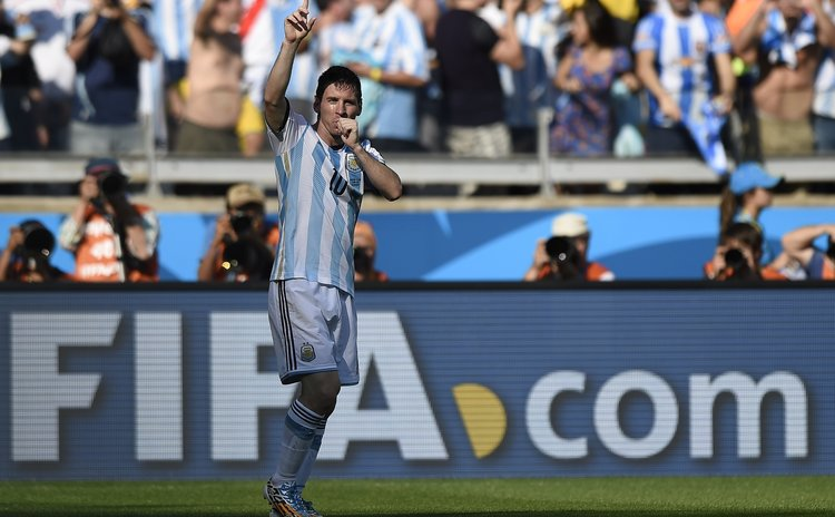 BELO HORIZONTE, June 21, 2014 (Xinhua) -- Lionel Messi of Argentina celebrates scoring during a Group F match between Argentina and Iran of 2014 FIFA World Cup