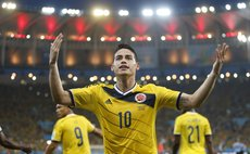 Colombia's James Rodriguez celebrates a goal during a Round of 16 match between Colombia and Uruguay of 2014 FIFA World Cup