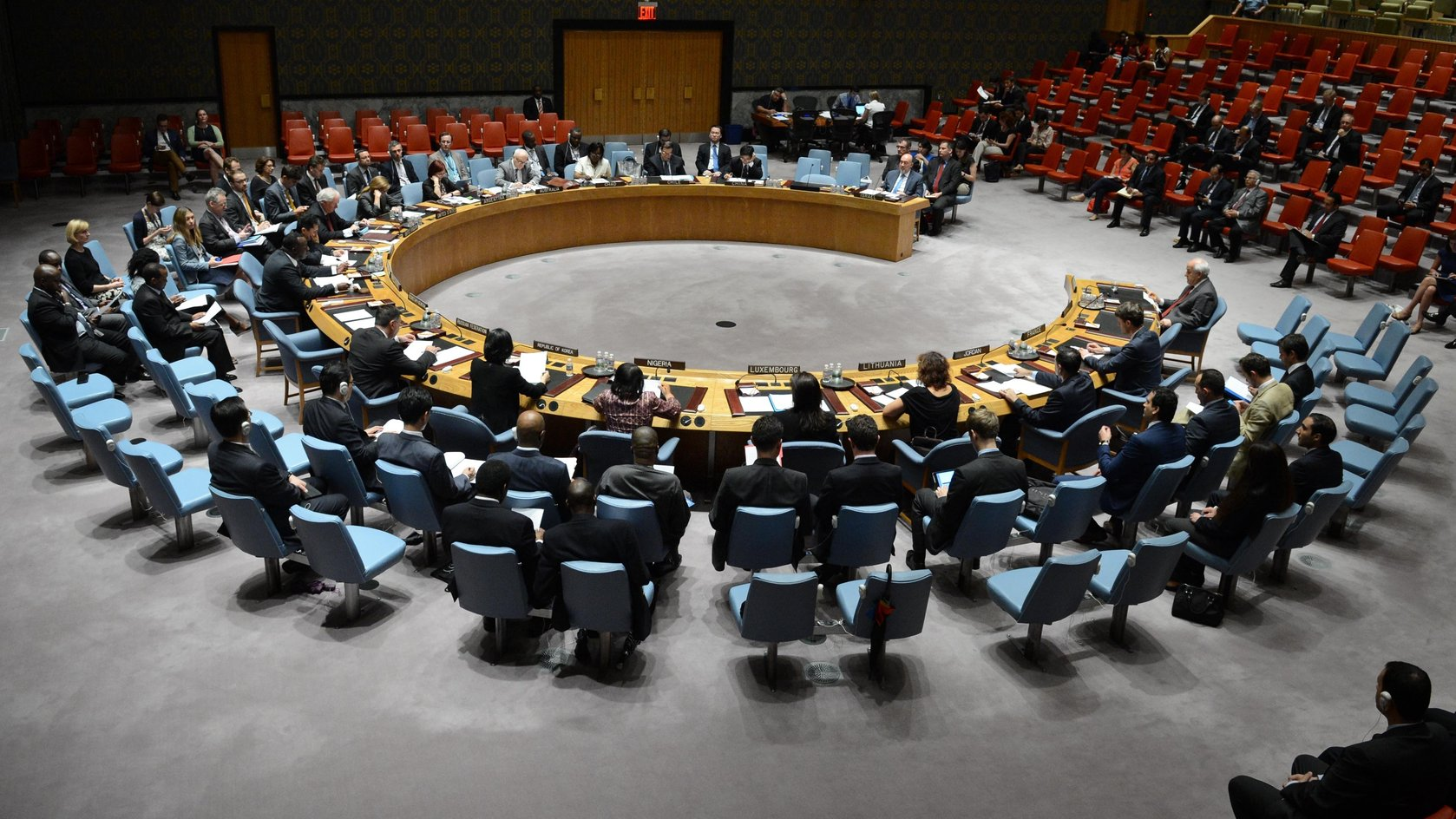 NEW YORK, July 28, 2014 (Xinhua) -- The UN Security Council holds an emergency meeting on the situation in the Middle East, at the UN headquarters in New York, on July 28, 2014.