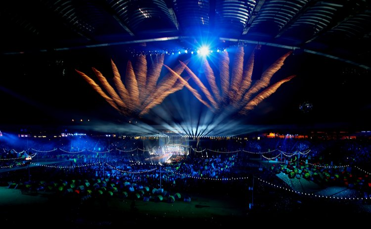 GLASGOW, Aug. 4, 2014 (Xinhua) -- Photo taken on Aug. 3, 2014 shows the closing ceremony of the 2014 Glasgow Commonwealth Games in Hampden Park in Glasgow, Scotland.