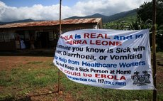 FREETOWN, Aug. 18, 2014 (Xinhua) -- Photo shows control and prevention information of the Ebola epidemic outbreak near a community health center in the Ebola-affected Freetown, capital of Sierra Leone