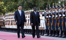 BEIJING, Aug. 25, 2014 (Xinhua) -- Chinese President Xi Jinping (L front) holds a welcome ceremony for Zimbabwean President Robert Mugabe before their talks in Beijing, China, Aug. 25, 2014.