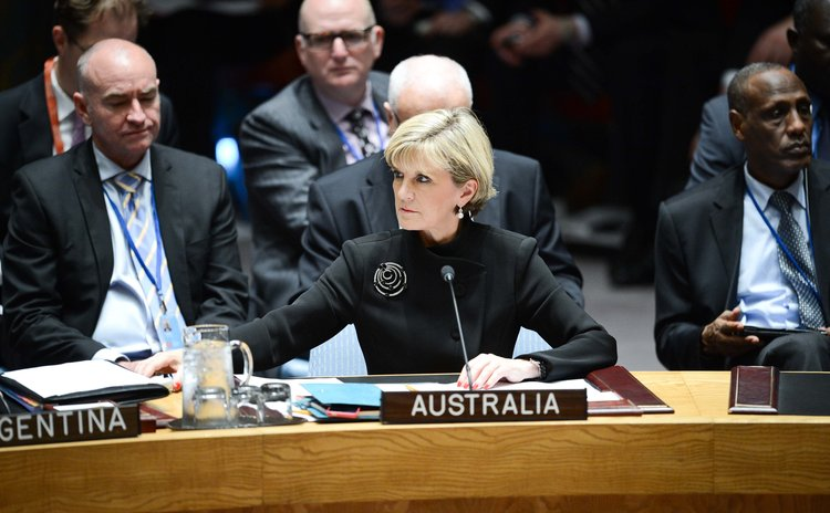NEW YORK, Sept. 19, 2014 (Xinhua) -- Australian Foreign Minister Julie Bishop attends a UN Security Council meeting on the situation of Iraq, at the UN headquarters in New York, on Sept. 19, 2014.