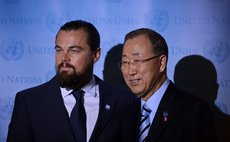 NEW YORK, Sept. 20, 2014 (Xinhua) -- UN Secretary-General Ban Ki-moon (R) and American actor Leonardo DiCaprio during at the UN headquarters in New York, on Sept. 20, 2014.