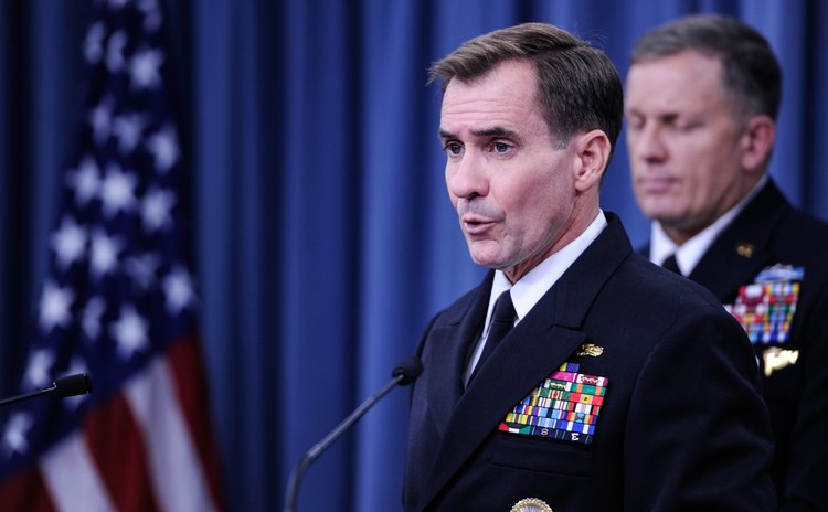 WASHINGTON D.C., Sept. 23, 2014 (Xinhua) -- Pentagon Press Secretary John Kirby speaks during a briefing at the Pentagon in Washington D.C., capital of the United States, Sept. 23, 2014.