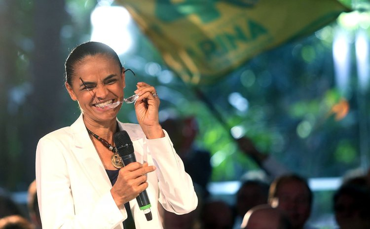 SAO PAULO, Oct. 1, 2014 (Xinhua) -- Presidential candidate of the Brazilian Socialist Party, Marina Silva, takes part in a campaign event in Sao Paulo, Brazil, on Sept. 30, 2014.