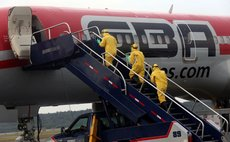 MAIQUETIA, Oct. 15, 2014 (Xinhua) -- Venezuelan Health Ministry officials drill to deal with Ebola infected people at Simon Bolivar International Airport in Maiquetia, Oct. 14, 2014
